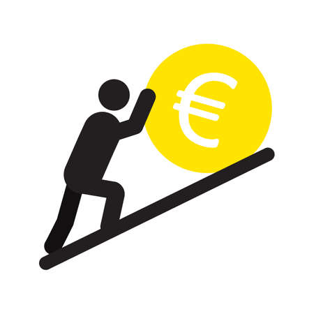 Man lean on yen sign silhouette icon. Businessman, analyst, economist, financier, marketer, manager. Successful and confident person. Isolated vector illustration