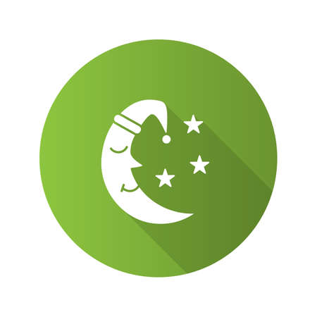 Moon with stars flat design long shadow glyph icon. Bedtime. Vector silhouette illustration