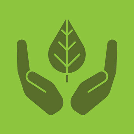 Open palms with leaf glyph color icon. Environment protection. Silhouette symbol. Nature care. Negative space. Vector isolated illustration