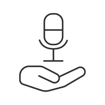 Open hand with microphone linear icon. Thin line illustration. Recording studio. Radio contour symbol. Vector isolated outline drawing