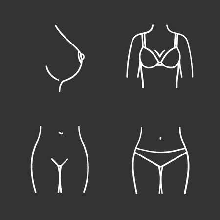 Female body parts chalk icons set. Woman's breast and bikini zone. Isolated vector chalkboard illustrations