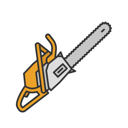 Chainsaw color icon. Petrol-driven power chainsaw. Isolated vector illustration