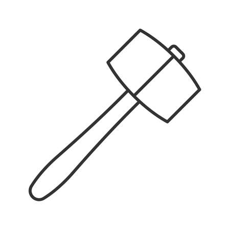 Lump hammer linear icon. Thin line illustration. Maul. Contour symbol. Vector isolated outline drawing