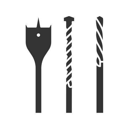 Drill bits glyph icon. Silhouette symbol. Negative space. Vector isolated illustration