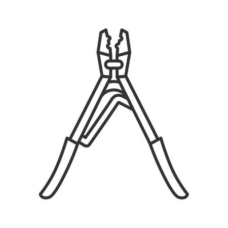 Crimping tool linear icon. Thin line illustration. Contour symbol. Vector isolated outline drawing