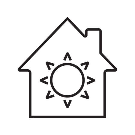 House eco electrification linear icon. Green solar energy. Thin line illustration. House with sun inside. Contour symbol. Vector isolated outline drawing