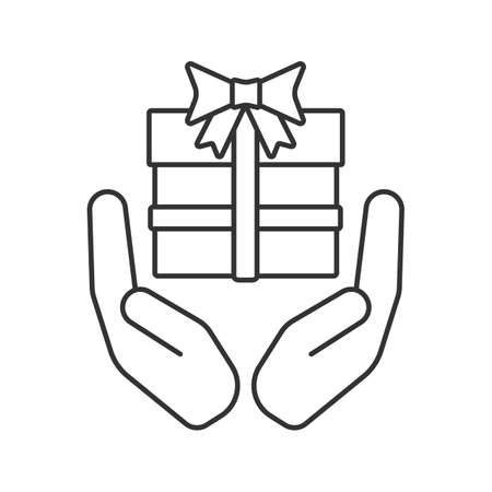 Open palms with gift box linear icon. Present. Thin line illustration. Contour symbol. Giving and receiving gift. Vector isolated outline drawing