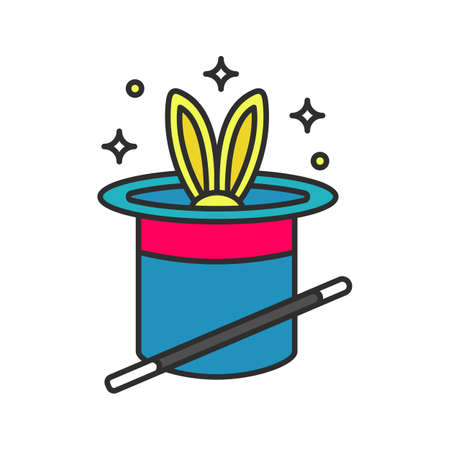 Rabbit in a hat and magic wand colored icon. Magic trick. Isolated vector illustration