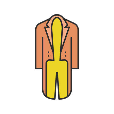 Tailcoat in colored icon. Isolated vector illustration on white