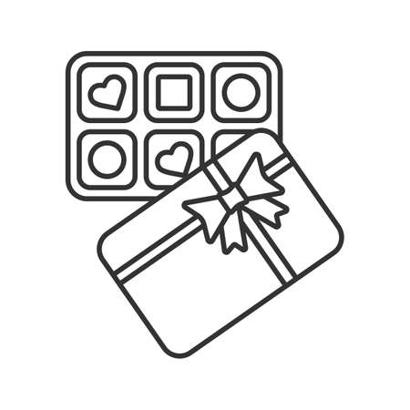 Candy box linear icon. Sweets. Thin line illustration. Contour symbol. Vector isolated outline drawing