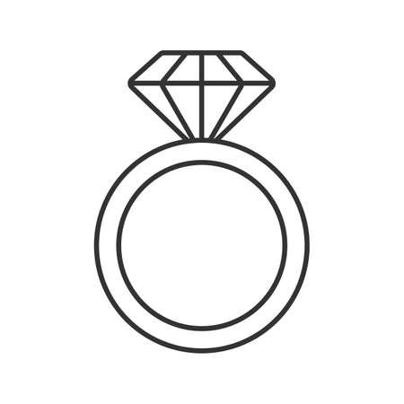 Pierścionek z diamentową ikoną liniową. Cienka linia ilustracja. Pierścionek zaręczynowy. Kontur symbolu. Wektor na białym tle szkicu