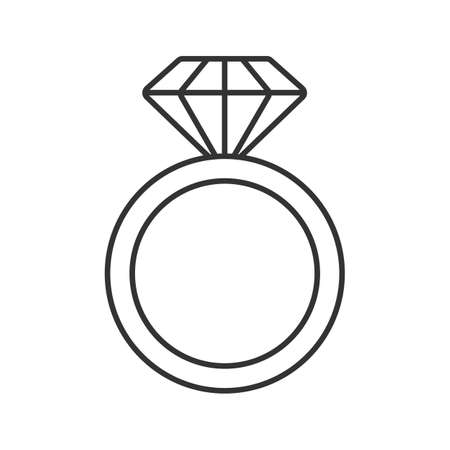Ring mit linearen Diamant-Symbol. Dünne Linie Illustration. Hochzeitsring. Kontursymbol. Vektor isoliert Umrisszeichnung