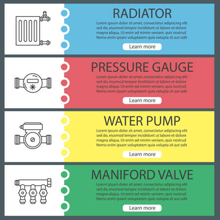 Plumbing web banner templates set. Radiator, pressure gauge, water pump, maniford valve. Website color menu items with linear icons. Vector headers design concepts