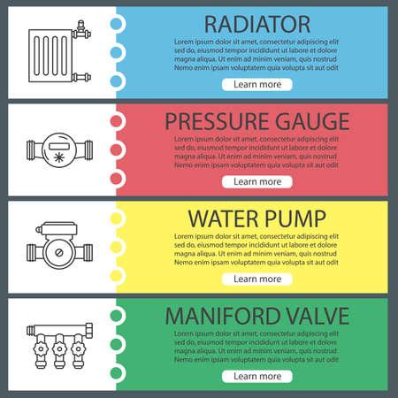 Plumbing web banner templates set. Radiator, pressure gauge, water pump, maniford valve. Website color menu items with linear icons. Vector headers design concepts