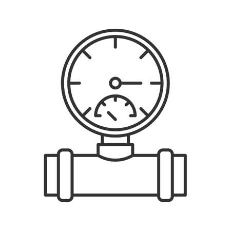 Pressure gauge linear icon. Pipe manometer. Contour symbol. Vector isolated outline drawing illustration Illustration