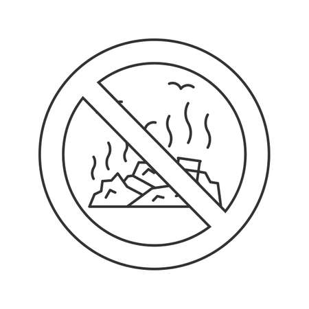 Forbidden sign with garbage dump linear icon. No littering prohibition. Stop contour symbol. Vector isolated outline drawing illustration. Vectores