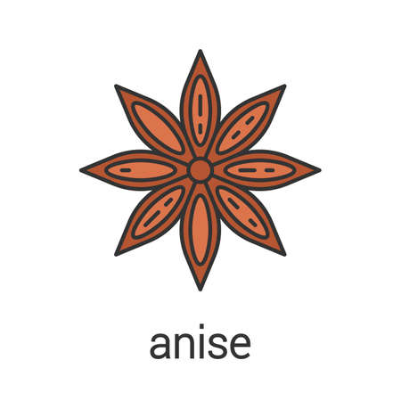 Anise colored icon. Isolated cartoon vector illustration on white