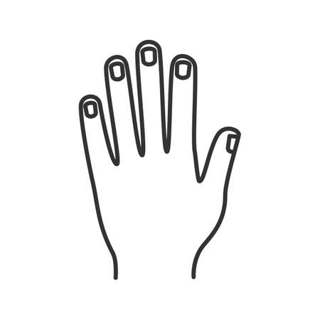 Man's hand linear icon. Thin line illustration. Contour symbol. Vector isolated outline drawing