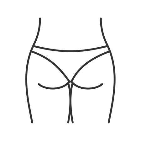 Un icono lineal de glúteos. Ilustración de línea delgada. Símbolo de contorno Dibujo de contorno aislado del vector Foto de archivo - 91200983