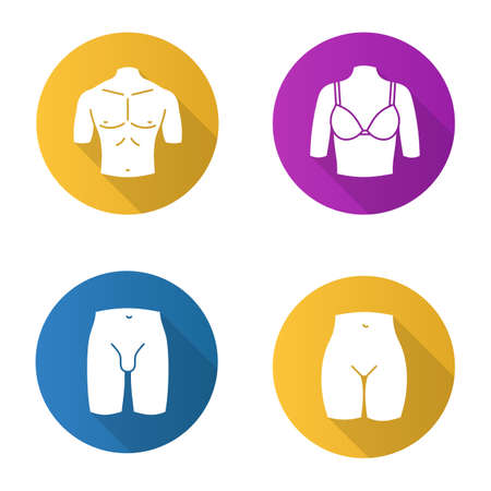 Body parts flat design long shadow glyph icons set. Muscular man's chest, female breast, bikini zone, male groin. Vector silhouette illustration Ilustração
