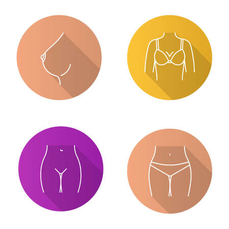 Female body parts flat linear long shadow icons set. Woman's breast and bikini zone. Vector outline illustration