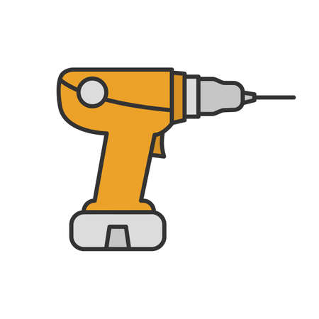Power drill color icon. Electric screwdriver. Isolated vector illustration