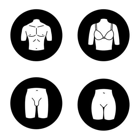 Human body parts glyph icons set. Muscular man's chest, female breast, bikini zone, male groin. Vector white silhouettes illustrations in black circles