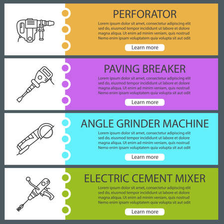 Construction tools web banner templates set. Perforator, paving breaker, angle grinder machine, electric cement mixer. Website color menu items with linear icons. Vector headers design concepts