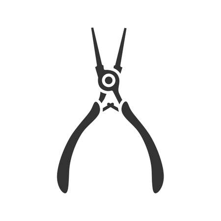 Round nose pliers glyph icon. Silhouette symbol. Wire looper pliers. Negative space. Vector isolated illustration