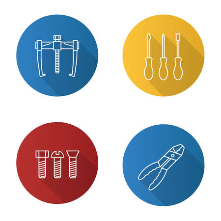 Construction tools flat linear long shadow icons set. Bearing puller, set of screwdrivers, metal bolts, combination pliers. Vector outline illustration Illusztráció