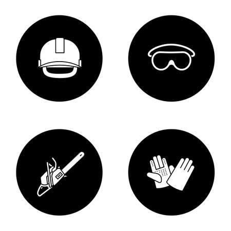 Construction tools glyph icons set. Industrial safety helmet, goggles, chainsaw, construction gloves. Vector white silhouettes illustrations in black circles