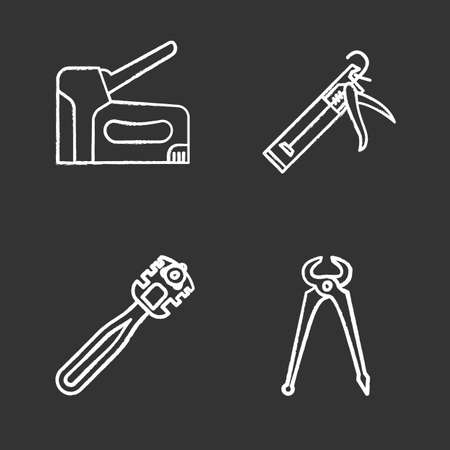 Construction tools chalk icons set. Caulking gun, glass cutter, carpenters end cutting pliers, construction stapler isolated vector chalkboard illustrations.