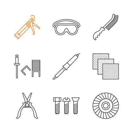 construction tools linear icons set caulking gun goggles wire rh 123rf com Home Electrical Wiring Diagrams Automotive Wiring Diagrams