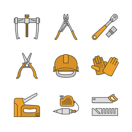 Construction tools color icons set. Bearing puller, crimping tool, ratchet, construction gloves and scissors, industrial safety helmet, stapler, plumb bob, mitre box. Isolated vector illustrations