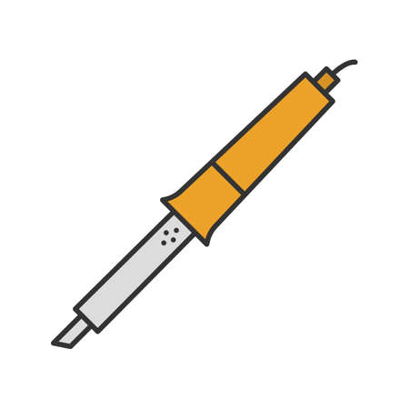 Soldering iron color icon. Solderer. Isolated vector illustration