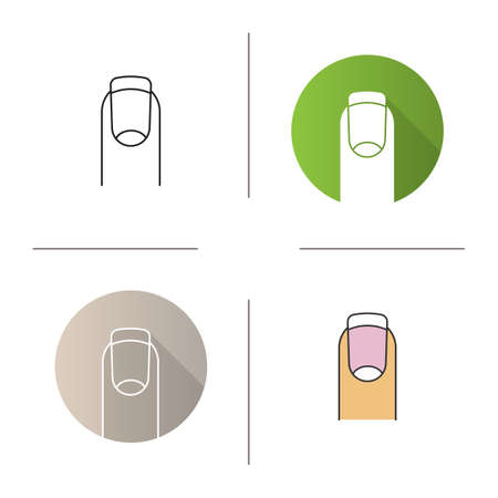 French manicure icon. Flat design, linear and color styles. Isolated vector illustrations Illustration