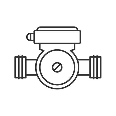 Water pump linear icon. Thin line illustration of plumbing. Contour symbol vector isolated outline drawing.