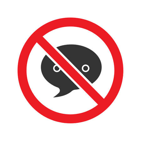 Forbidden sign with speech bubble glyph icon. Stop silhouette symbol. Dirty language prohibition. Negative space. Vector isolated illustration