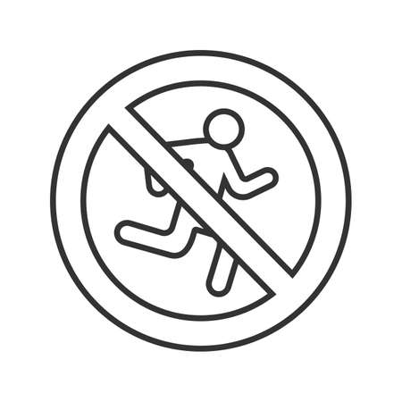 Forbidden sign with running man linear icon. No exit prohibition. Thin line illustration. Stop contour symbol. Vector isolated outline drawing