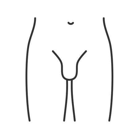 Male groin linear icon. Thin line illustration. Contour symbol. Vector isolated outline drawing