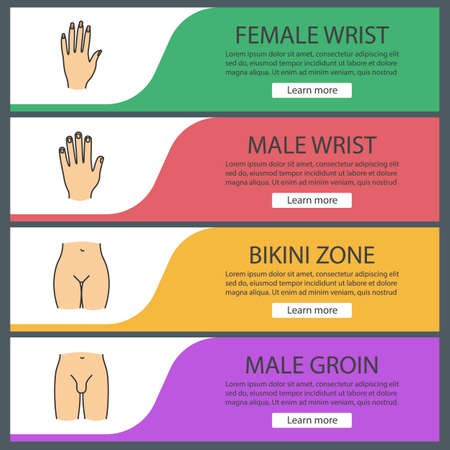 Human body parts web banner templates set. Man and woman's hands, bikini zone, male groin. Website color menu items. Vector headers design concepts