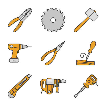 Construction tools color icons set. Combination pliers, circular saw blade, lump hammer, power drill, wood chisel, stationery knife, perforator, paving breaker. Isolated vector illustrations
