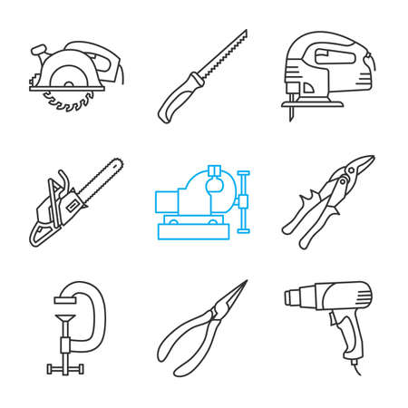 Construction tools linear icons set. Circular and pad saws, electric jigsaw, tin snips, g-clamp, pointed pliers, heat gun. Thin line contour symbols. Isolated vector outline illustrations