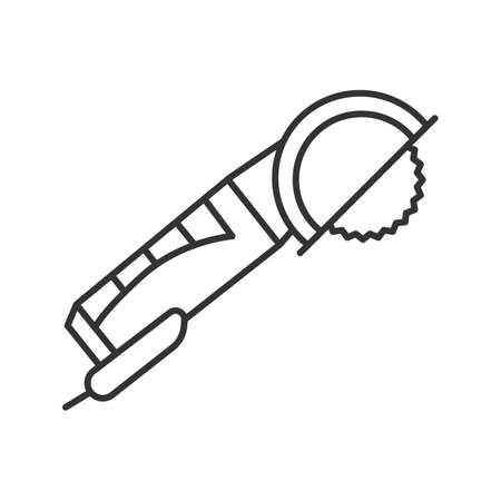 Angle grinder machine linear icon. Thin line illustration. Contour symbol. Vector isolated outline drawing