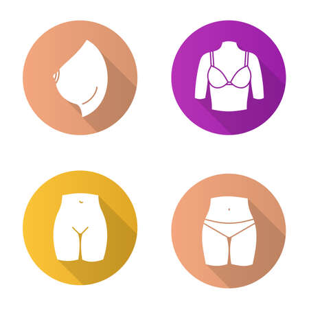 Female body parts flat design long shadow glyph icons set. Woman's breast and bikini zone. Vector silhouette illustration