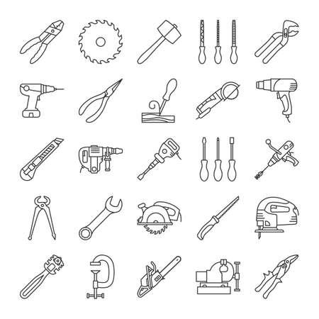 Bouw hulpmiddelen lineaire pictogrammen instellen. Renovatie- en reparatie-instrumenten. Dunne lijncontoursymbolen. Glassnijder, combinatietang, warmtepistool, houtbeitel. Geïsoleerde vector overzichtsillustraties