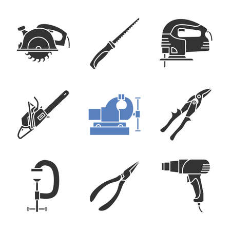 Construction tools glyph icons set. Circular and pad saws, electric jigsaw, tin snips, g-clamp, pointed pliers, heat gun. Silhouette symbols. Vector isolated illustration