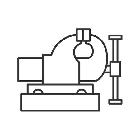 Bench vice linear icon. Thin line illustration. Leg vice. Contour symbol. Vector isolated outline drawing