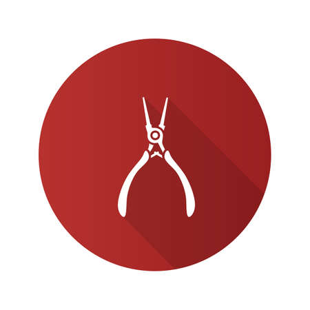 Round nose pliers flat design long shadow glyph icon. Wire looper pliers. Vector silhouette illustration