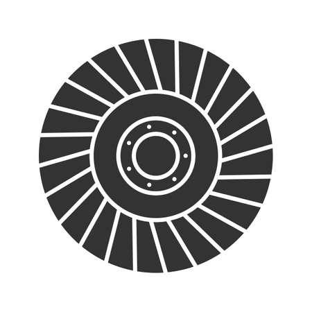 Ikona glifu koła ściernego. Sylwetka symbol. Negatywna przestrzeń. Ilustracja wektorowa na białym tle